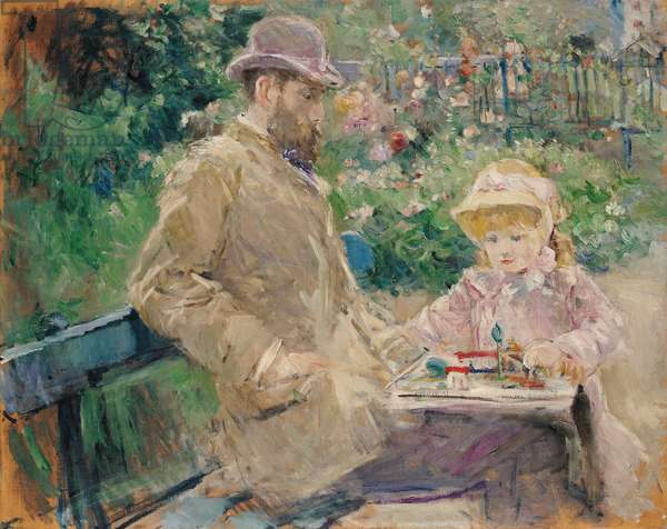 Eugene Manet (1833-92) with his daughter at Bougival, c.1881 (oil on canvas)