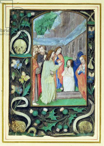 The Raising of Lazarus, from a book of Hours (vellum)