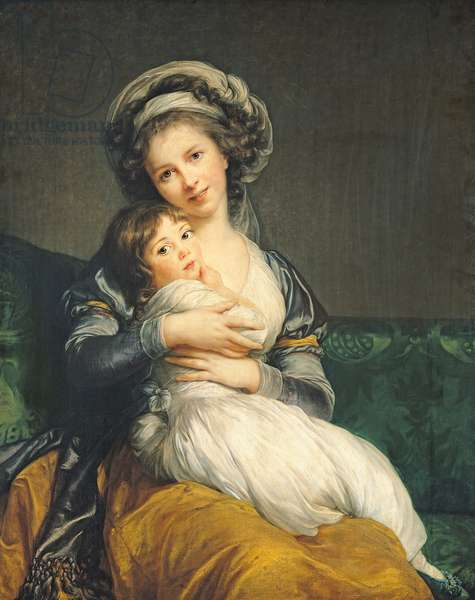 Self portrait in a Turban with her Child, 1786 (panel)