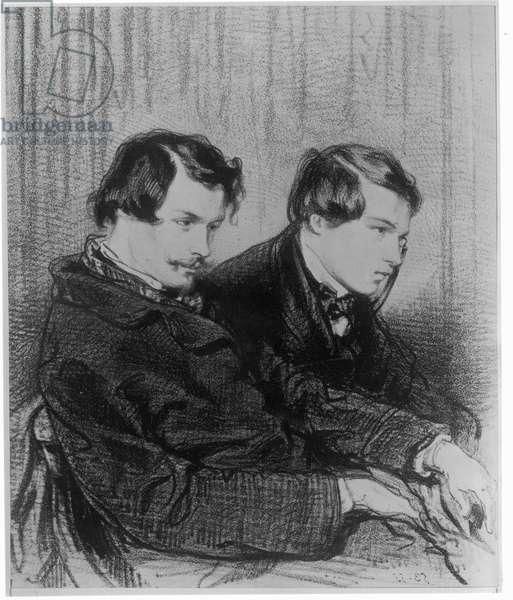 Edmond de Goncourt (1822-86) and Jules de Goncourt (1830-70) in a box at the theatre, 1853 (litho) (b/w photo)
