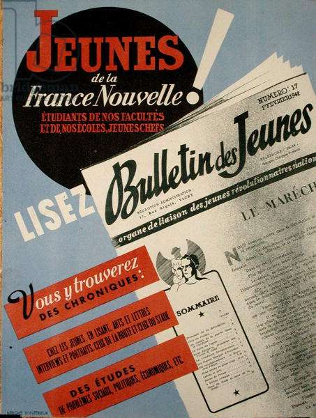 'The Youth of the New France Read the Bulletin des Jeunes', poster advertising a magazine of the Vichy Government, 1942 (colour engraving)
