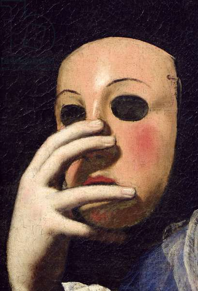 Woman with a Mask (oil on canvas) (detail of 154158)
