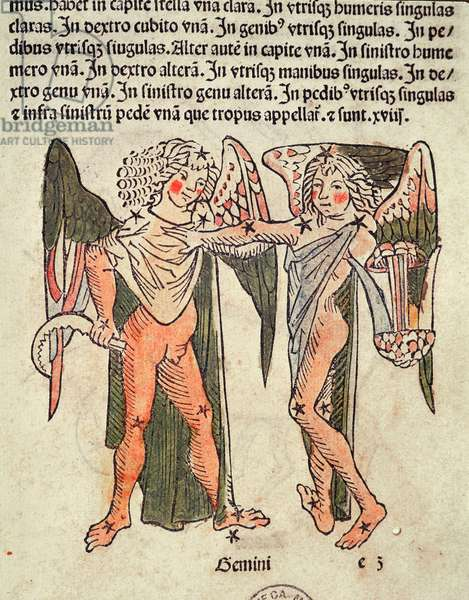 Gemini (the Twins) an illustration from the 'Poeticon Astronomicon' by C.J. Hyginus, Venice, 1485 (coloured woodcut)