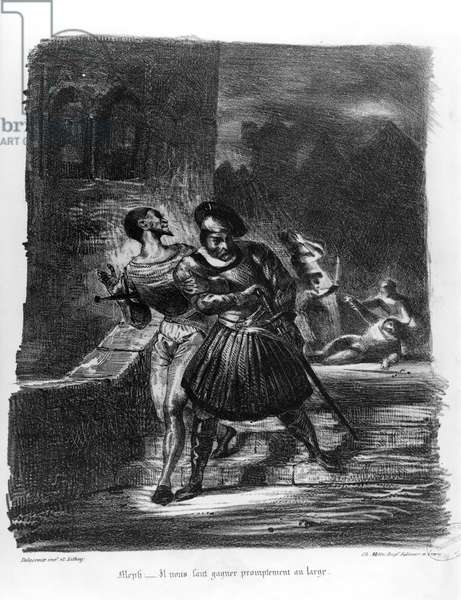 Mephistopheles and Faust escaping after Valentine's Death, from Goethe's Faust, 1828, (illustration), (b/w photo of lithograph)
