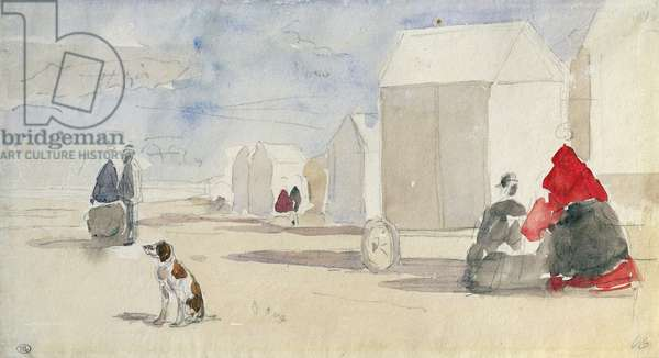 By the Bathing Machines, 1866 (w/c on paper)