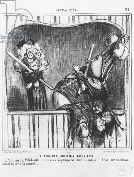 Series 'Actualites', The new Neapolitan Buffoon, plate 221, illustration from 'Le Charivari', 2nd October 1855 (litho) (b/w photo)