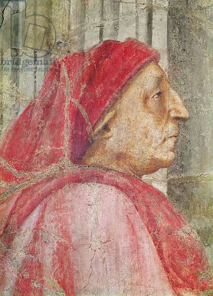The Holy Trinity, detail of the head of the male donor, 1427-28 (fresco) (detail of 173689)