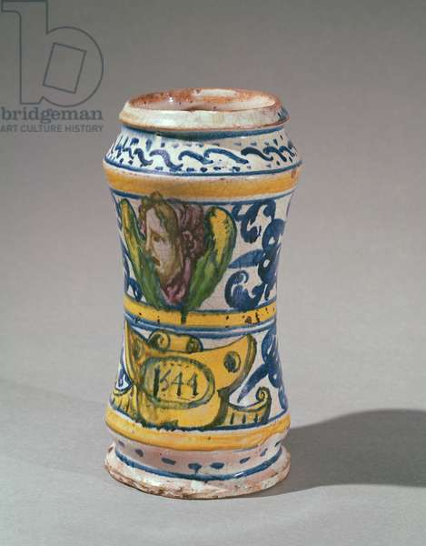 Albarelle, manufactured in Rouen, 1544 (faience)