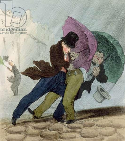 The Umbrella Trip, from 'Flibustiers Parisiens' (colour litho)