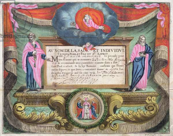Marriage Certificate for Claude Monnard issued at Lyon in 1672 (coloured engraving)