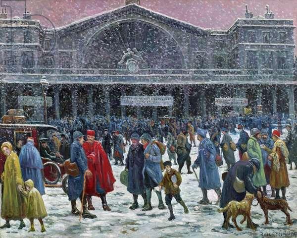Gare de l'Est Under Snow, 1917 (oil on canvas)