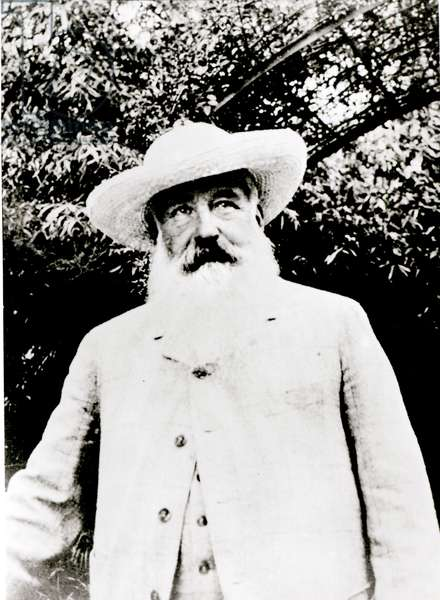 Portrait of Claude Monet (1841-1926) at Giverny, 1915 (b/w photo)