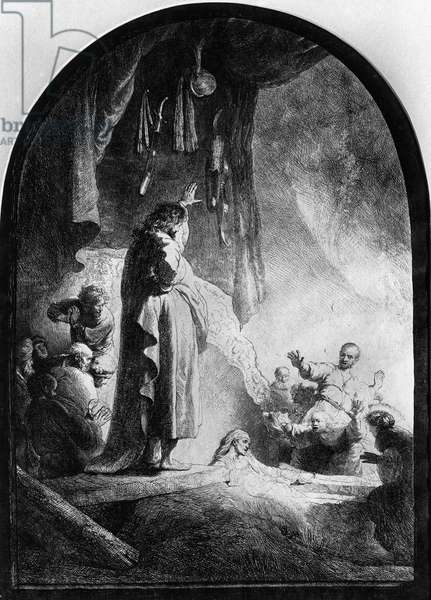 The Great Raising of Lazarus (etching) (b/w photo)