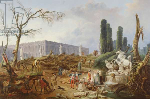 Tree Felling in the Garden of Versailles around the Baths of Apollo, 1775-77 (oil on canvas)