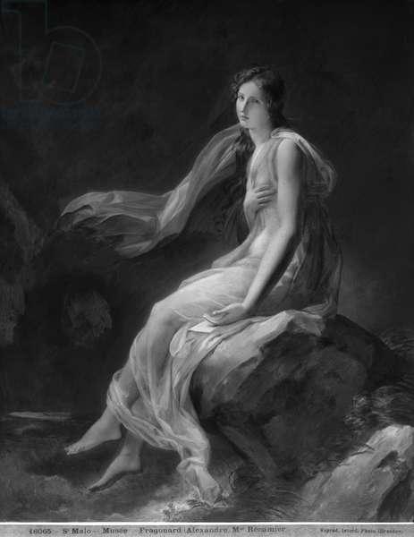 Madame Recamier (1777-1849) (oil on canvas) (b/w photo)