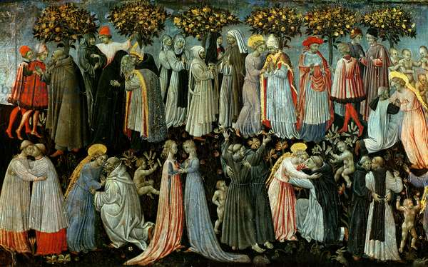 The Last Judgement, detail of the predella panel depicting Paradise, 1460-65 (tempera on panel) (detail of 218797)
