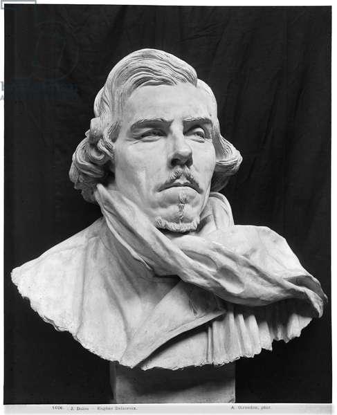 Bust of Eugene Delacroix (1798-1863) (plaster) (b/w photo)