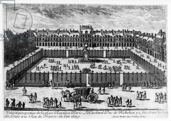 Perspective view of the Place des Vosges (engraving) (b/w photo)
