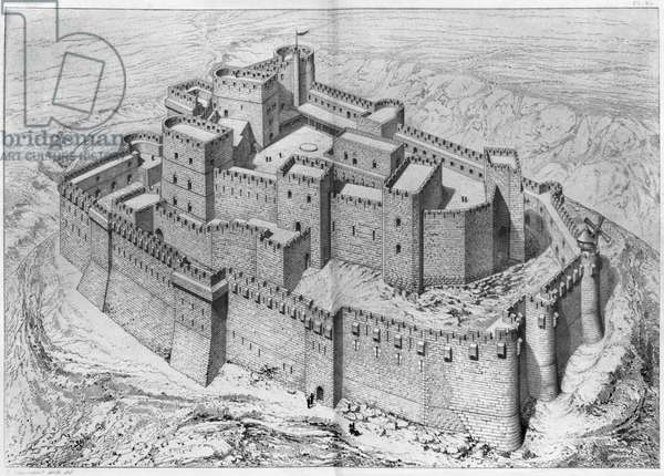 The Krak des Chevaliers, reconstruction (engraving) (b/w photo)