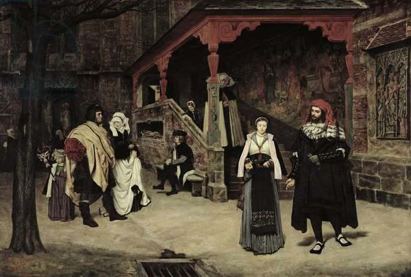 The Meeting of Faust and Marguerite, 1860 (oil on canvas)