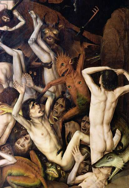Hell, detail of a demon hitting the damned, c.1450 (oil on panel)