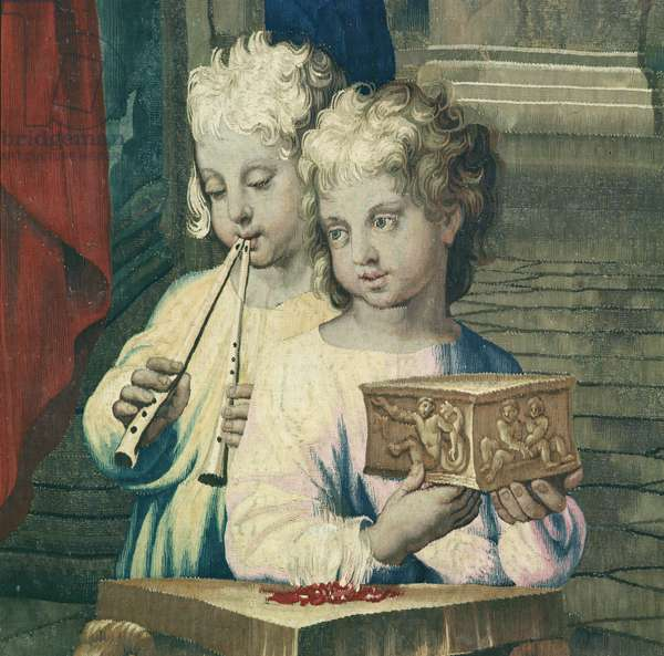 Tapestry depicting the Acts of the Apostles, the sacrifice of Lystra (detail two child, one playing a double flute and the other presenting a small box), woven at the Beauvais Workshop under the direction of Philippe Behagle (1641-1705), 1695-98 (wool tapestry)