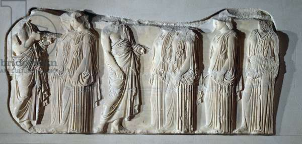 Organisers and ergastines (peplos-bearers), section of the Great Panathenaic procession from the east frieze of the Parthenon, c.442-438 BC (marble)