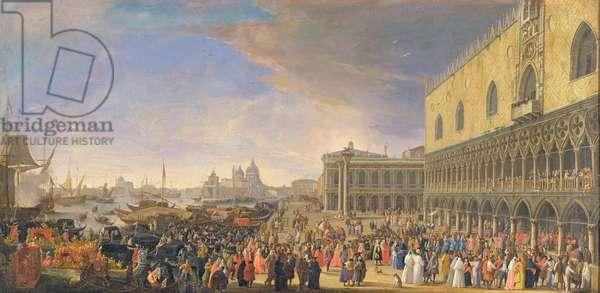 Arrival of the Comte Languet de Gergy at the Palazzo Ducale, Venice, November 1726 (oil on canvas)