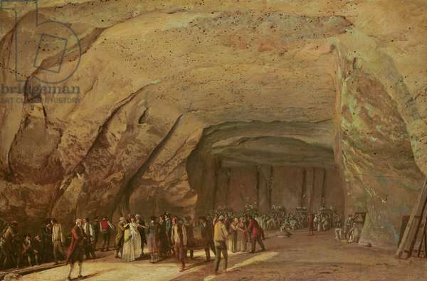 Entrance and Interior of a Cave used as a Warehouse for Salt in Dieppedalle, c.1798 (oil on canvas)