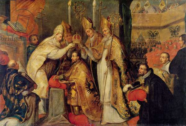 The Coronation of Charles V (1500-58) Holy Roman Emperor (oil on canvas)