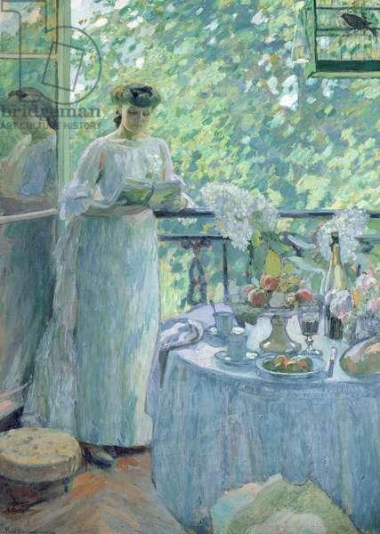 Woman on a Balcony (oil on canvas)