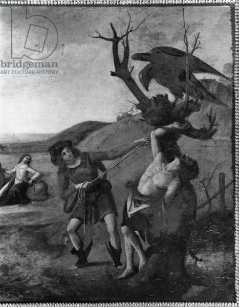 The Myth of Prometheus, c.1515 (oil on panel) (b/w photo) (detail)