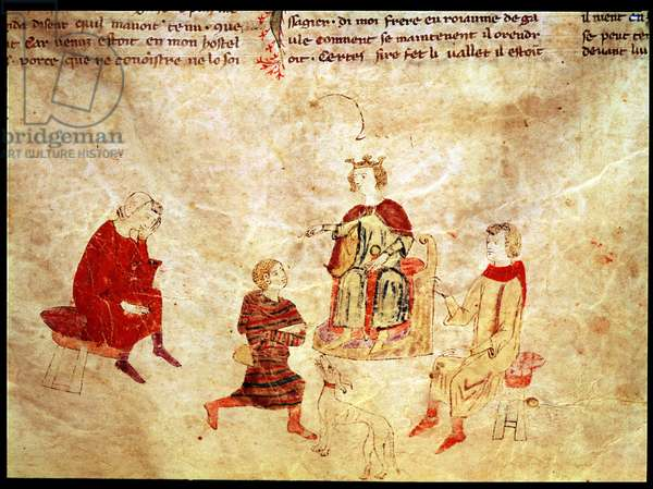 King Arthur on his Throne Surrounded by his Advisors, from the Roman de Meliadus (vellum)