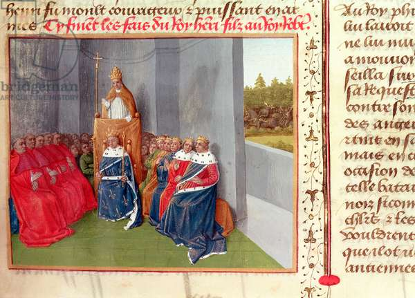 Ms Fr 6465 Fol.174 Urban II (c.1035-99) Preaching the Crusade at Clermont in the Presence of King Philippe I (1053-1108) of France in 1095, from 'Les Grandes Chroniques de France', c.1460 (vellum)