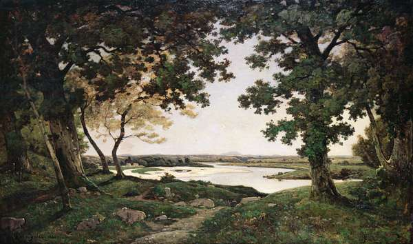 Wooded Landscape with a Sandy River, 1882 (oil on canvas)