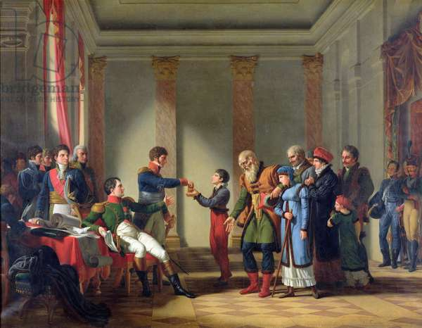 Napoleon Bonaparte (1769-1821) Giving a Pension of A Hundred Napoleons to the Pole, Nerecki, aged 117 years, January 1807, 1812 (oil on canvas)