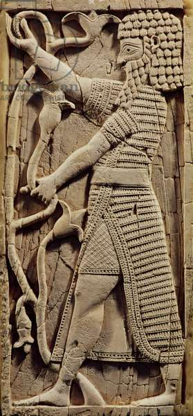 Relief depicting a warrior, from the Palace of Salmanassar III (858-823 BC) Nimrud (ivory) (see also 231660)