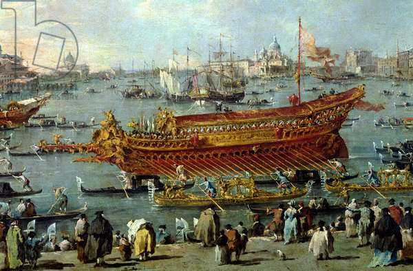 The Departure of the 'Bucentaur' Towards the Venice Lido on Ascension Day, detail of the boat, 1766-70 (oil on canvas)