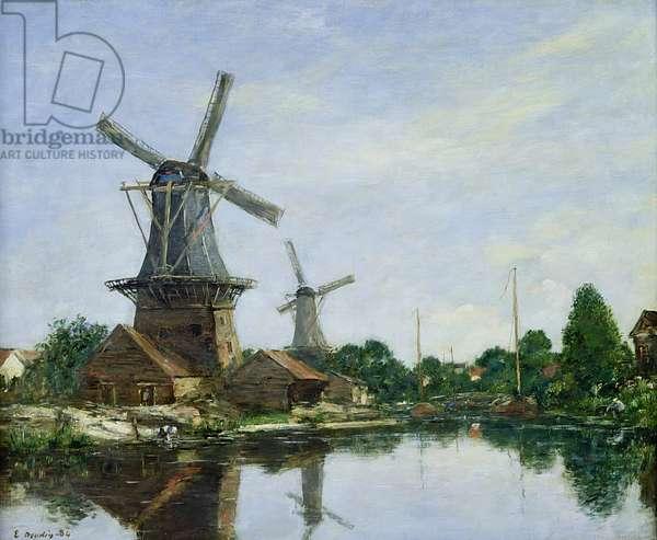 Dutch Windmills, 1884 (oil on canvas)