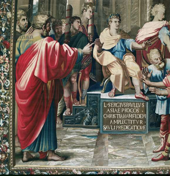 Tapestry depicting the Acts of the Apostles. The Blindness of Elymas (detail of Saint Paul and the Roman Proconsul Sergius Paulus), woven at the Beauvais Workshop under the direction of Philippe Behagle (1641-1705), 1695-98 (wool tapestry)