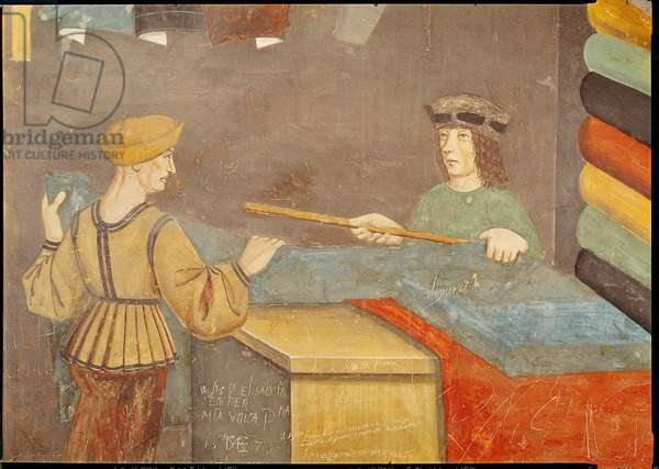 A Cloth Merchant Measuring Cloth (fresco)