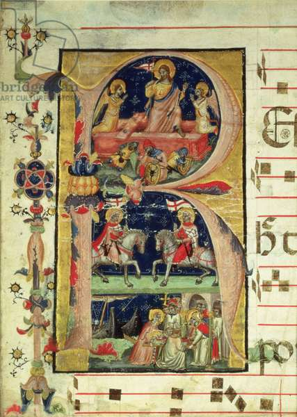 Historiated initial 'R' depicting the resurrection, two knight saints and a bishop saint receiving relics (vellum)