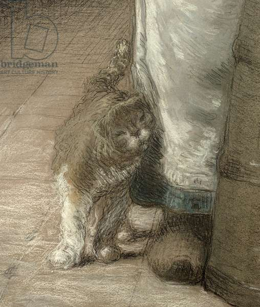 Churning Butter, 1866-68 (pencil & pastel on paper) (detail of 155306)