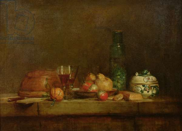 Still Life with a Bottle of Olives, 1760 (oil on canvas)