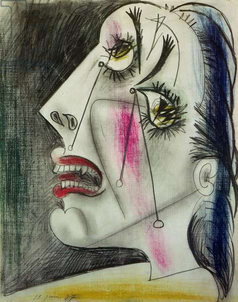 Woman Crying (study for Guernica) 1937 (graphite, gouache and colour stick on tracing cloth)