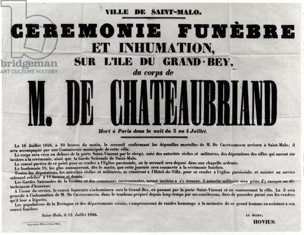 Poster for the Funeral of Francois Rene de Chateaubriand (1768-1848) in St.Malo 18th July 1848 (print) (b/w photo)