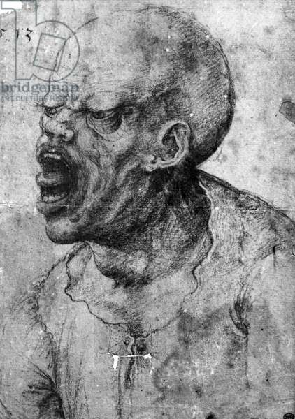 Portrait of a Man Shouting (charcoal on paper) (b/w photo)