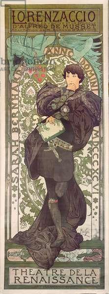 """""""Lorenzaccio"""", with Sarah Bernhardt, at the Renaissance at the Théâtre de la Renaissance (poster), 1896 (lithograph)"""