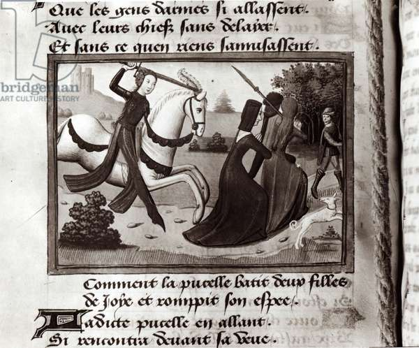 Ms Fr 5054 Joan of Arc (1412-31) driving the prostitutes from the army camp, from Vigils of Charles VII, c.1484 (vellum) (b/w photo)