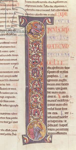 Ms 2 fol.175 t.2 The Gospel of St. Mark, from the Bible of the Monastery of Saint-Andre aux-Bois (vellum)